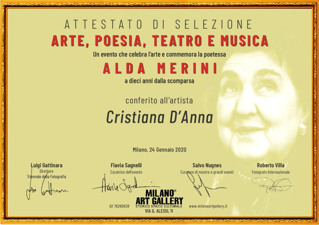 Attestato di selezione di Cristiana D'Anna alla milano art gallery, in occasione della mostra dedicata ad Alda Merini.