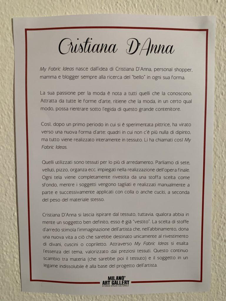 milano art gallery : recensione opere di Cristiana D'anna