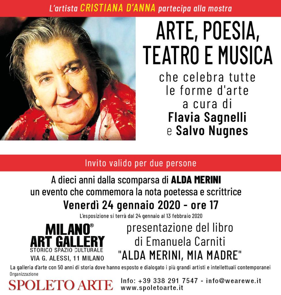 ARTE, POESIA, TEATRO E MUSICA, presso MILANO ART GALLERY, dal 24 gennaio al 13 febbraio.